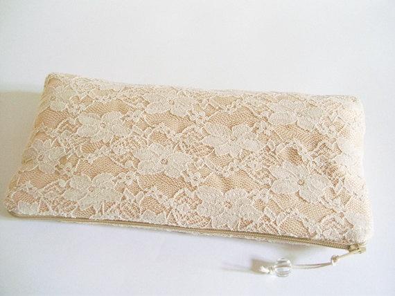 Mariage - Peach Lace Clutch, Wedding Clutch, Bridesmaid Bag, Cream Bridal Handbag, Lace Evening Wallet