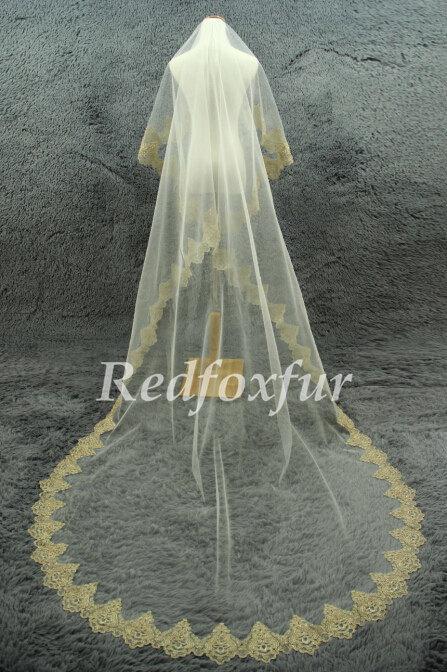 Mariage - Gold edges veil 1 tier Cathedral Veil Alencon lace veil Ivory Bridal Veil Lace edge veil Wedding dress veil Wedding Accessories No comb