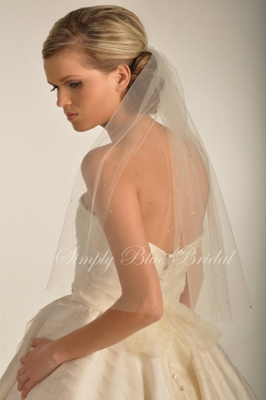 Mariage - Crystal Veil - Scattered Swarovski Crystals - Elbow Length Veil - White, Diamond White, Ivory, Chamagne