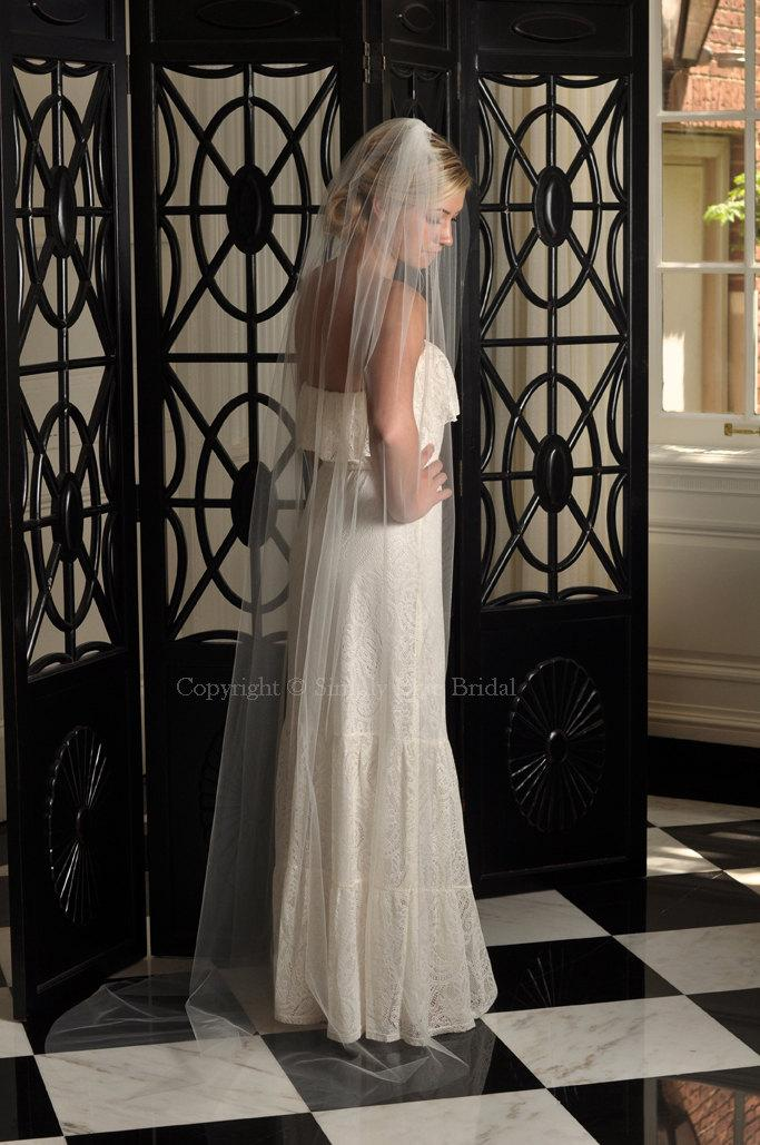 Mariage - Bridal Veil - Cathedral Veil with Raw Cut Edge in White, Diamond White, Light Ivory, Ivory or Champagne