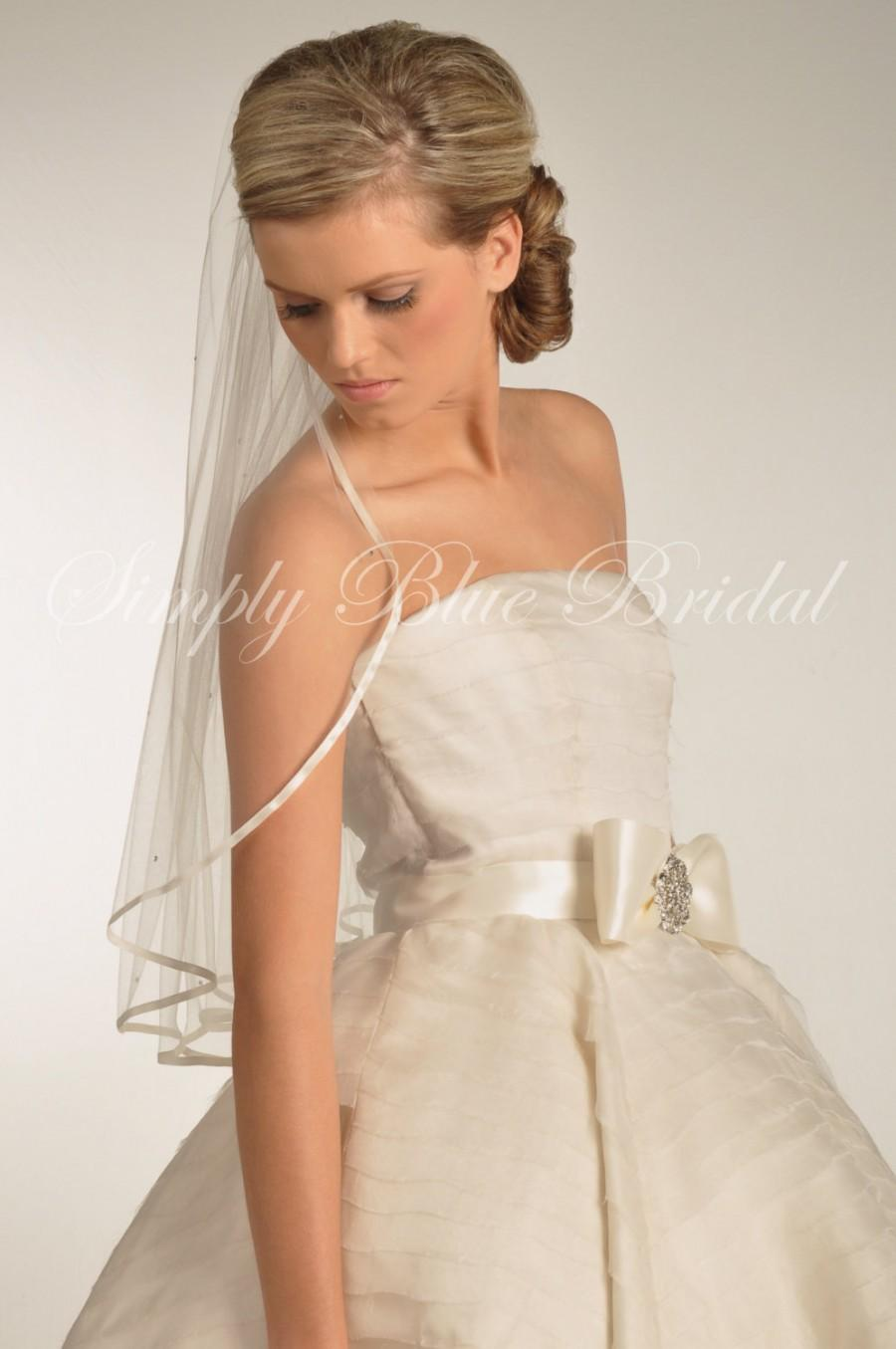Mariage - Wedding Veil - Ribbon Veil, Swarovski Crystal Bridal Veil, Veil with Satin Ribbon Edge & Scattered Swarovski Crystals