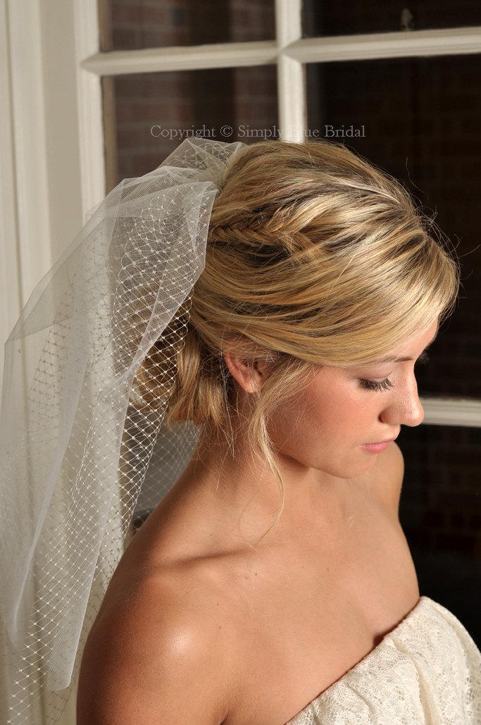 زفاف - Bridal Veil - Tulle and Russian Net Shoulder Veil with Swarovski Crystals- Ivory or White