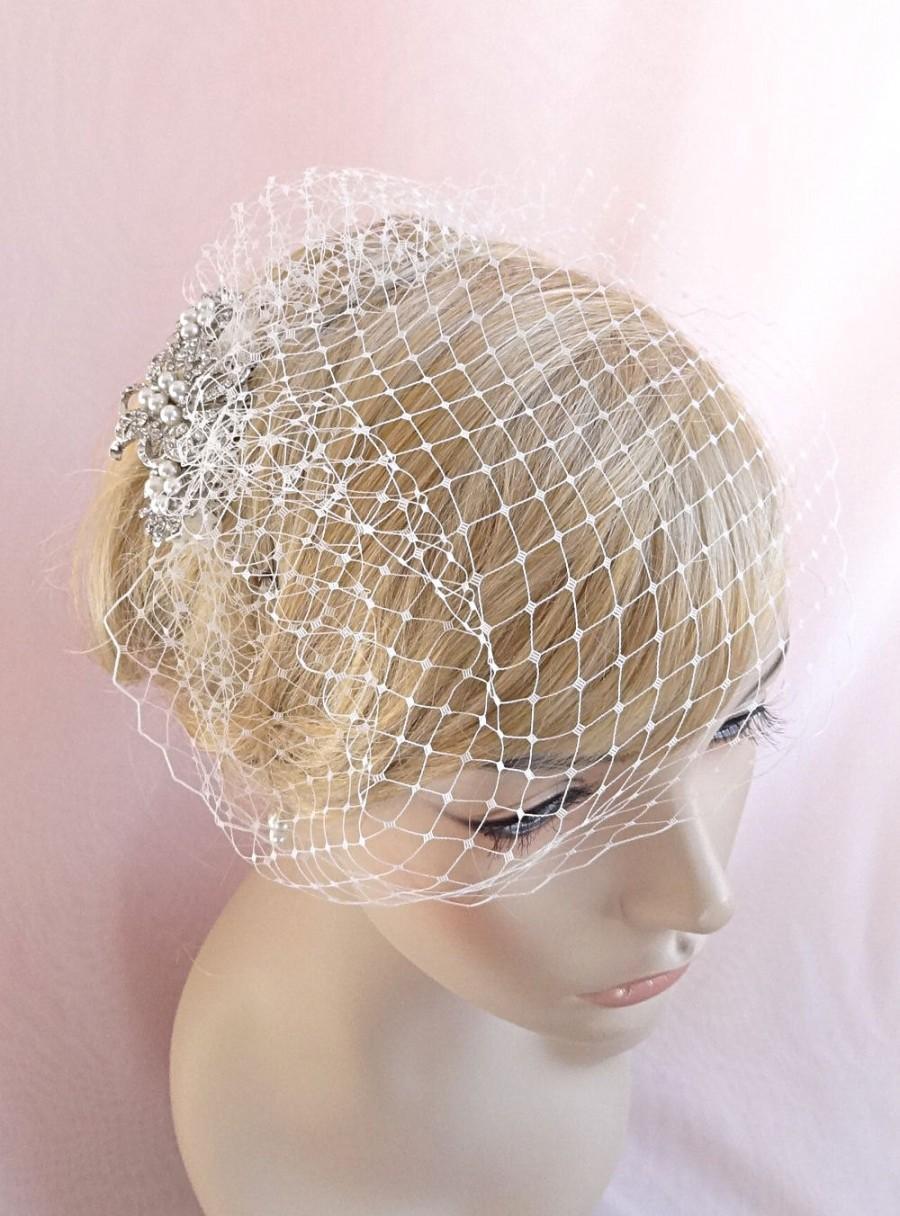 زفاف - bridal birdcage veil with rhinestone adornment, small birdcage, wedding bird cage veil, Russian veiling ivory, beige, white, pink Style 630