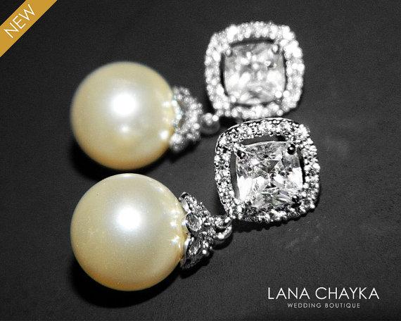 Bridal Ivory Drop Pearl Earrings Swarovski 10mm Cubic Zirconia Wedding Jewelry Earring Free Us Shipping