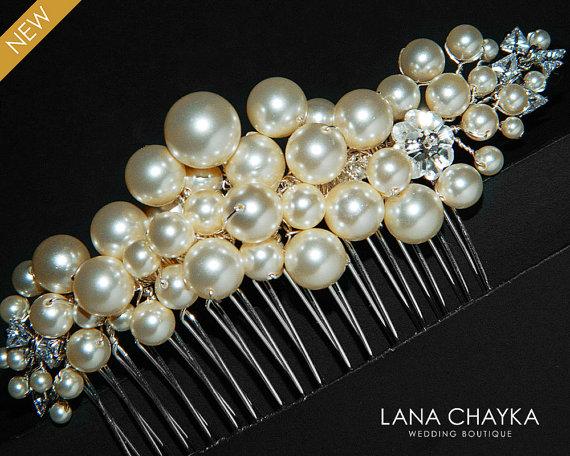 Wedding - Swarovski Ivory Pearl Cubic Zirconia Bridal Hair Comb Pearl Wedding Hair Comb Ivory Pearl Headpiece Bridal Pearl Comb Wedding Pearl Combs