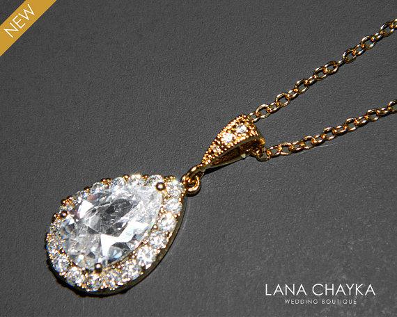 Mariage - Wedding Cubic Zirconia Necklace Teardrop Cz Bridal Necklace Clear Cubic Zirconia Bridal Jewelry Wedding Crystal Golden Wedding Jewelry Bride