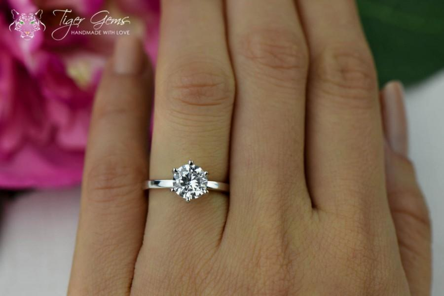 1.5 Carat 6 Prong Solitaire Engagement Ring, Round Cut, Man Made Diamond  Simulant, Wedding Ring, Bridal Ring, Promise Ring, Sterling Silver