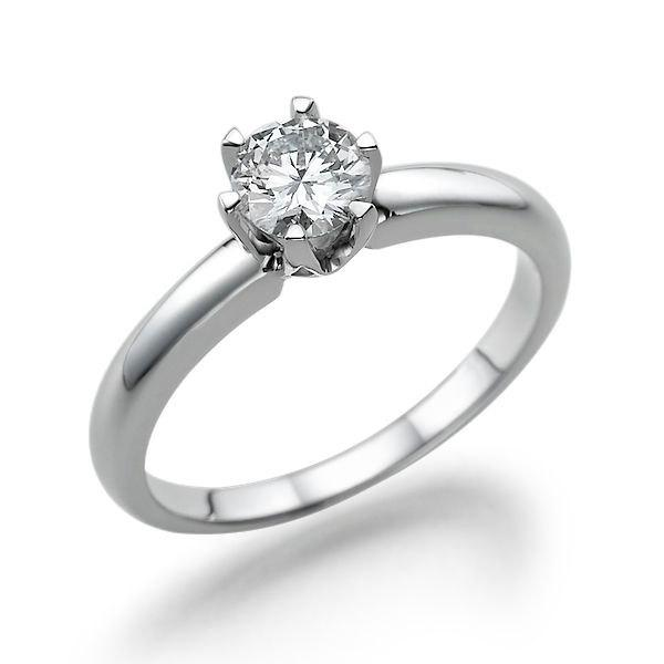 Свадьба - Classic Solitaire Engagement Ring, Diamond Ring, 14K White Gold Ring, Solitaire Ring, 0.50 CT Diamond Ring Band