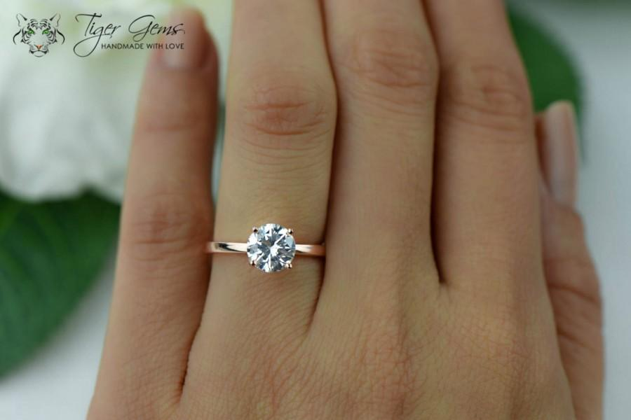 1 5 Carat Engagement Ring Rose Solitaire Ring Man Made Diamond Simulant 4