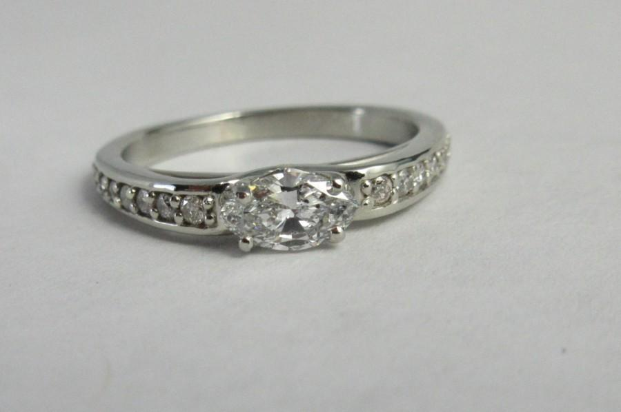 زفاف - Marquis Ring  Vintage Inspired diamond ring Ready to ship Size 7 East to West Marquise white gold 14k