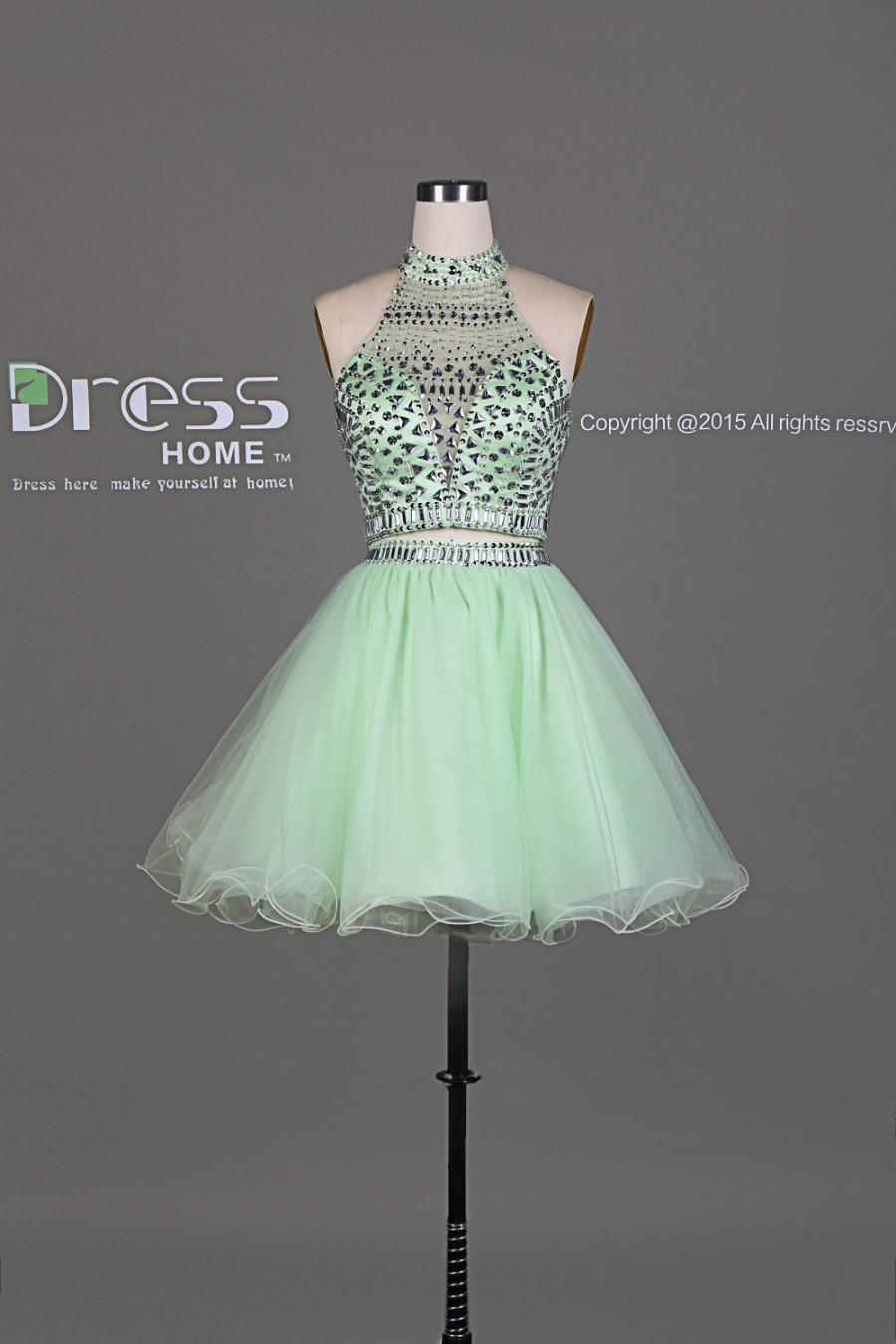 Wedding - 2015 New Design Mint Beading Rhinestone 2 Piece Party Dress/Short Organza Homecoming Dress/Sparkly 2 Piece Prom Dress/Short Dress DH435