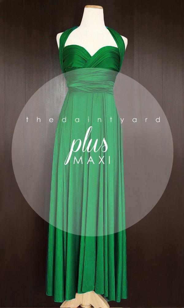 MAXI Plus Size Emerald Green Bridesmaid Dress Convertible Dress ...