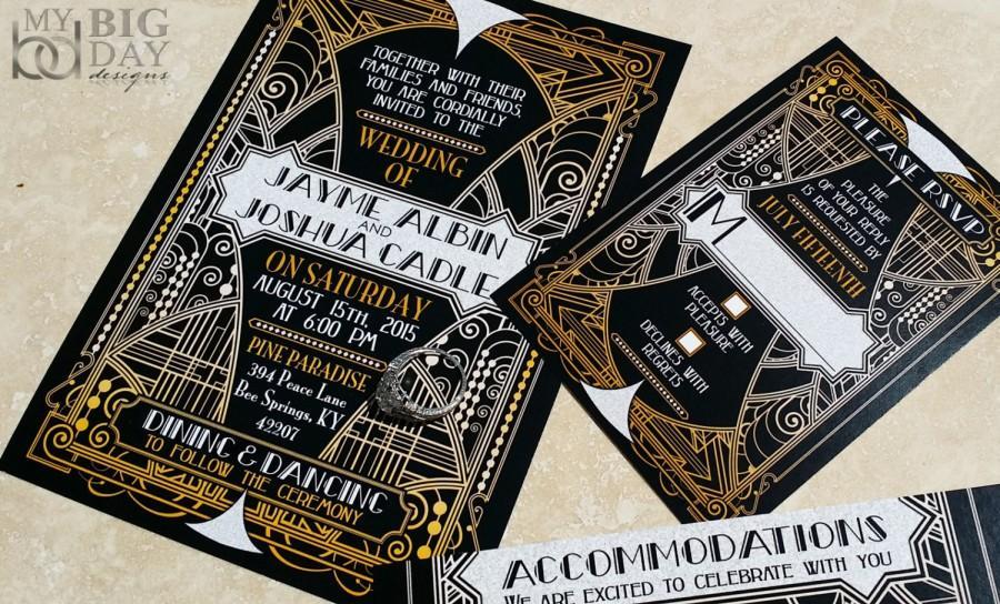 new! the glittering gatsby ball wedding invitations, great gatsby, Wedding invitations
