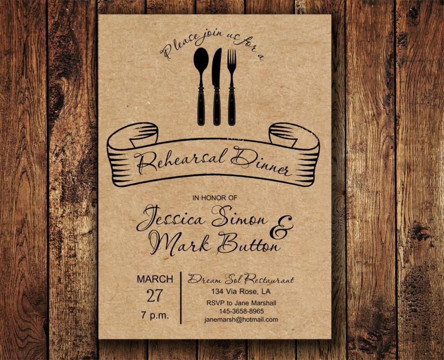 image about Printable Rehearsal Dinner Invitations named Printable Rehearsal Meal Invitation, Kraft Paper Rehearsal