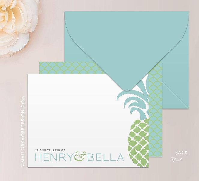 Tropical Pineapple Stationery Set Note Card Thank You Card With – Monogram Wedding Thank You Cards