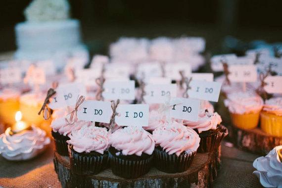 Hochzeit - SALE! I DO Wedding Cupcake Toppers (Set of 48), Bridal Shower Cupcake Decorations, Wedding Cake Topper