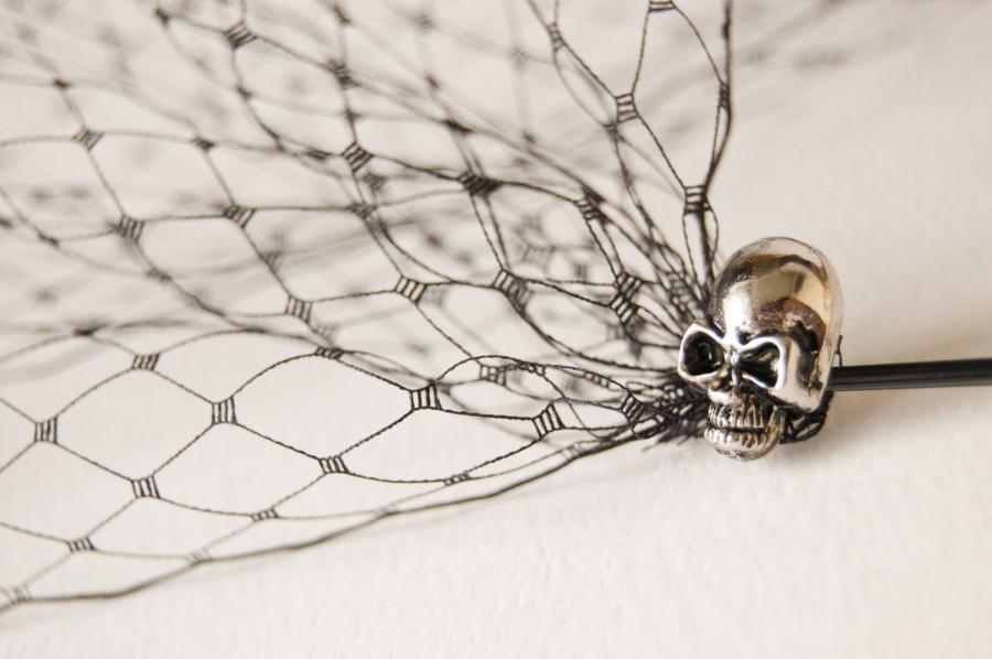 Mariage - Bandeau veil - Birdcage veil - Veil with skulls - Skull bridal veil - Alternative bride - Black birdcage veil