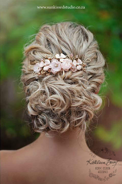 زفاف - R780 Rose gold Hair comb hairpiece blush pink - wedding bridal hair - veil comb - gold