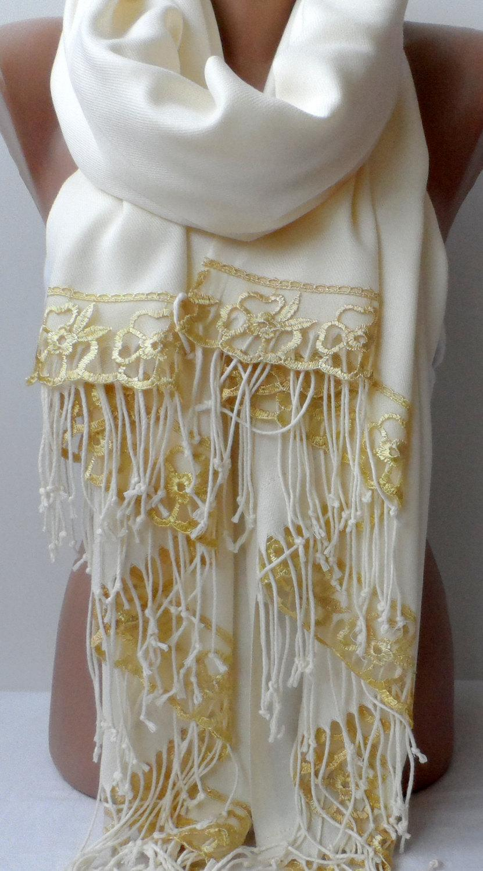 Wedding - Gold French Lace Ivory Cream Pashmina Shawl Bridesmaid Pashmina Ivory scarf Gold Lace fashion Wedding Christmas shawls Bridal Winter Shawls