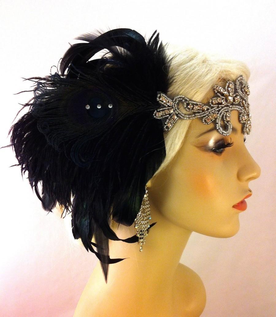 Mariage - Great Gatsby Headband, Downton Abbey, Art Deco Flapper Headband, 1920s Headpiece, Daisy Buchanan, 1920s Flapper, Black and Silver Headband