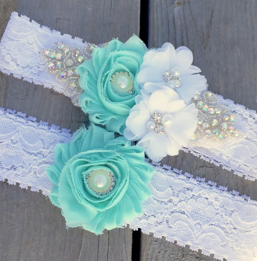 Свадьба - Mint Garter , Wedding Garter , Bridal Garter , Bling Rhinestone Garter , country wedding