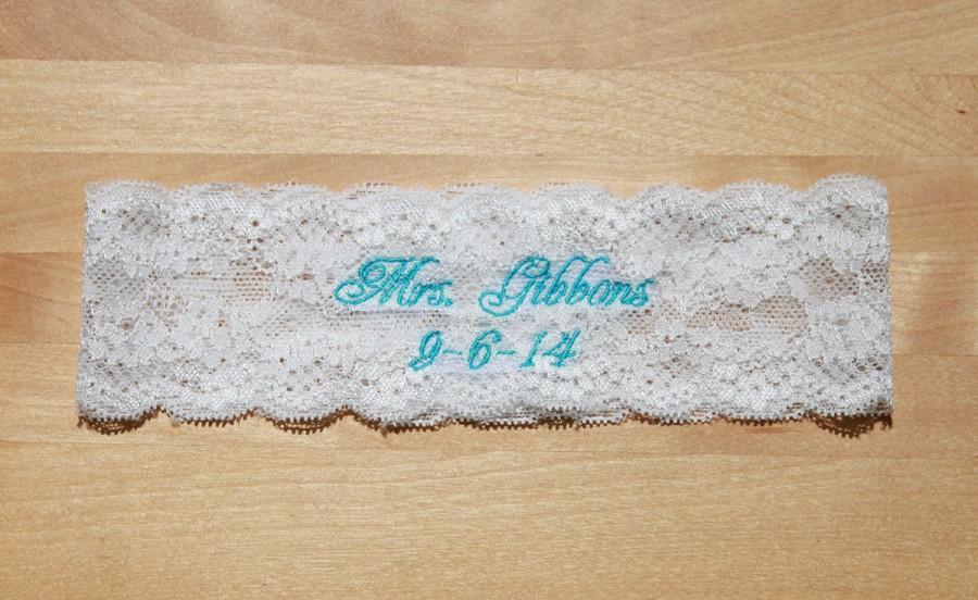 Свадьба - Personalized Bridal Garter,Rustic Wedding Garter,Lace Garter, Toss Garter, Shabby Chiffon, Monogrammed, Custom