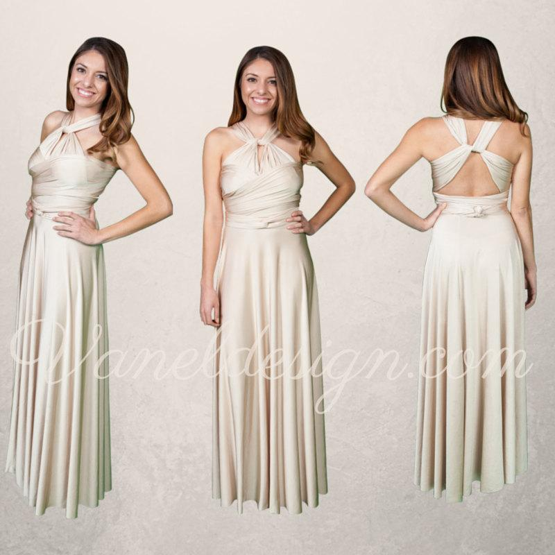 Düğün - Champagne Bridesmaid Dress, Custom Made Convertible Bridesmaids Dress, Prom Dress, Formal Dress, Party Dress ** Over 50 Colors **