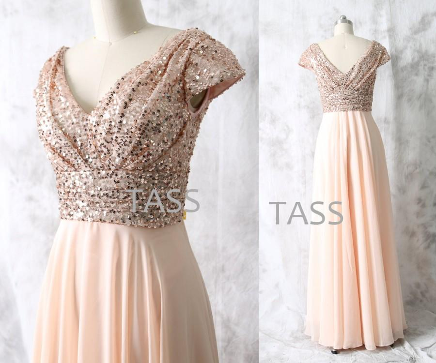 Rose Gold Sequin Chiffon Long Bridesmaid Dress, Cap Sleeves Wedding ...