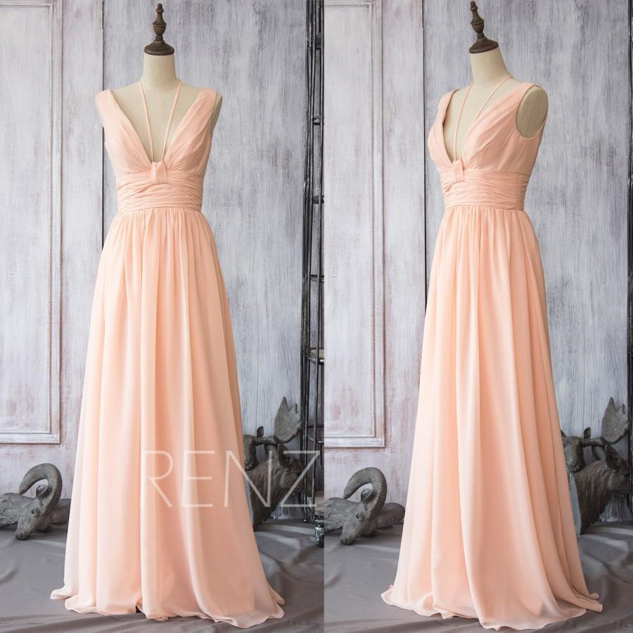 2015 Peach Chiffon Bridesmaid Dress, Long Blush Wedding Dress ...