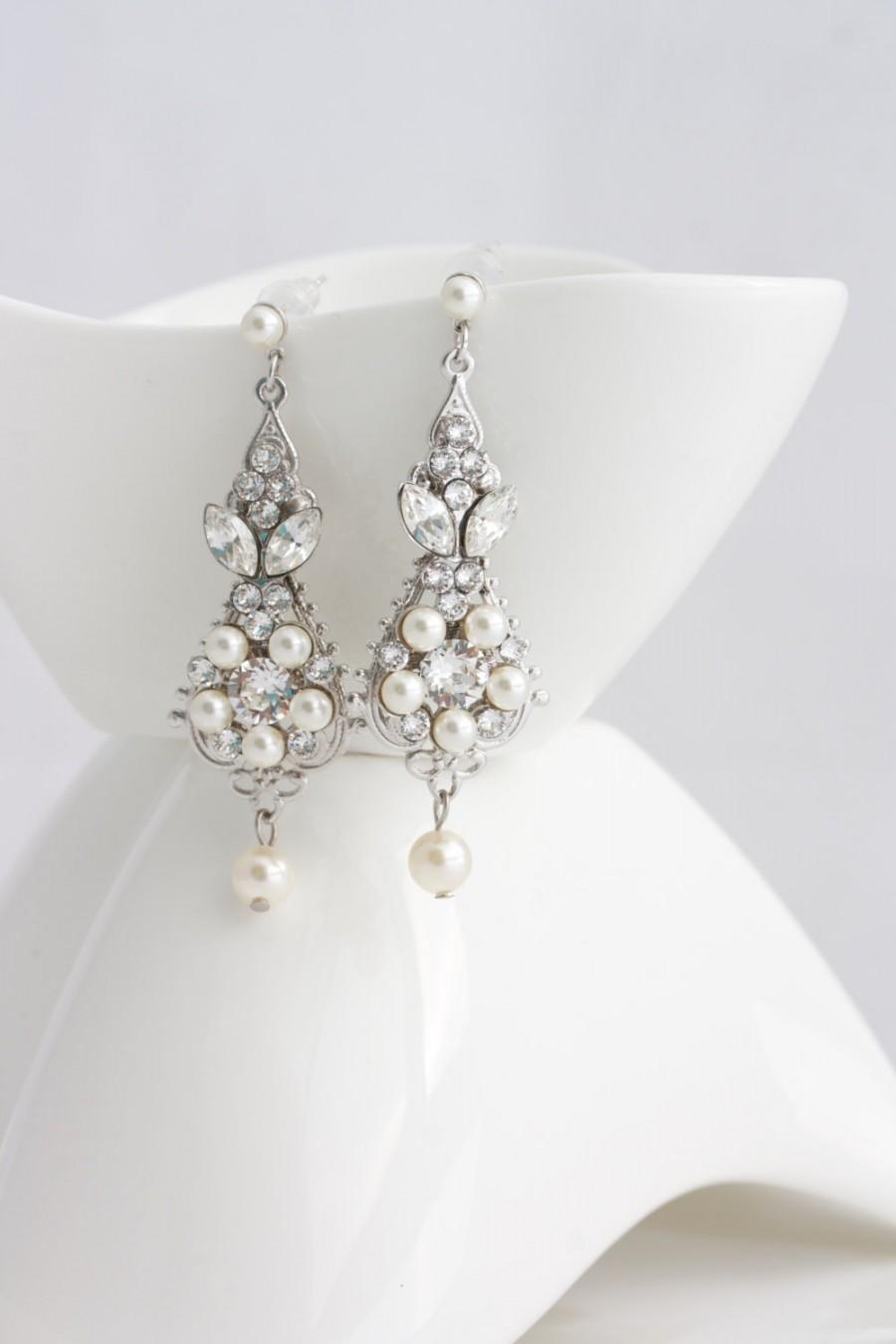 Pearl And Crystal Wedding Earrings Vintage Bridal Earrings Small Chandelier Earrings Wedding