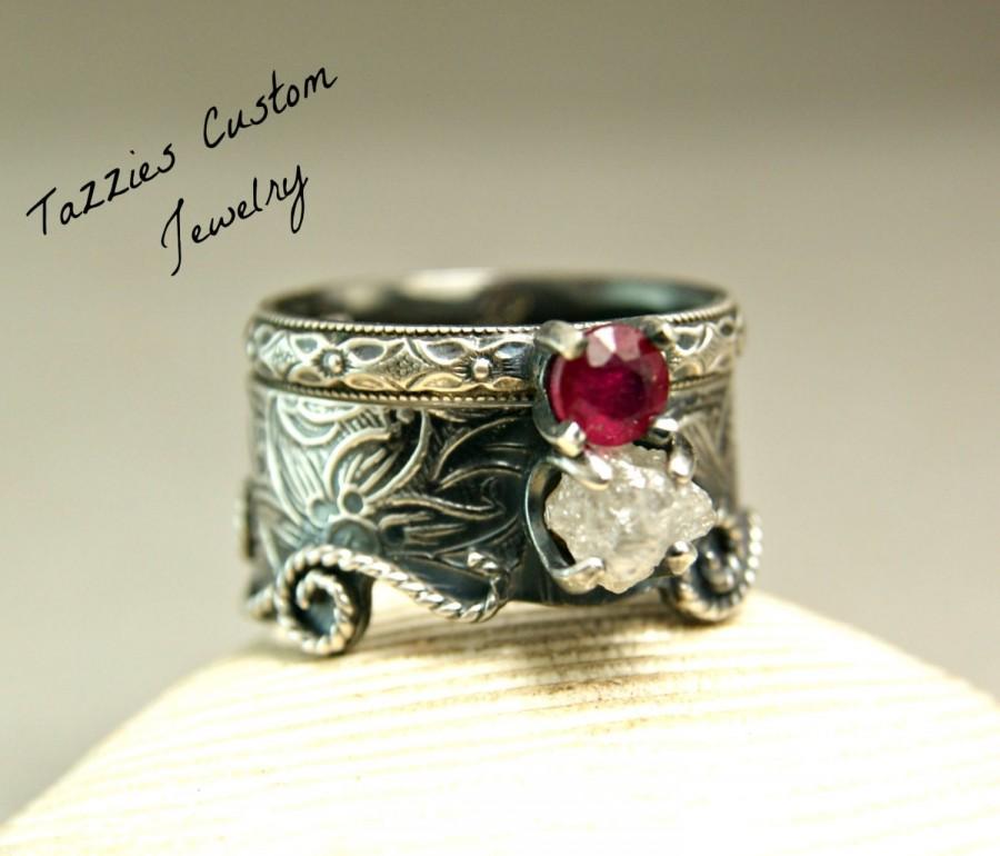 Mariage - Rough Diamond Mermaid Wedding Ring, Vintage Floral Bridal Set, Sterling Silver Alternative Wedding Ring