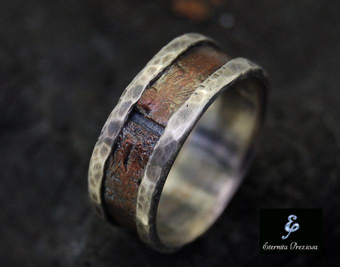 Mariage - Rustic Copper Mens Ring, Mens Engagement Ring, Mens Wedding Band, Men's band Ring, Unique Anniversary Ring, Engagement Ring , Wedding Ring