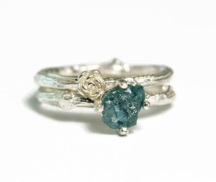 Uncut Blue Diamond Wedding Ring April Birthstone Rough Diamond