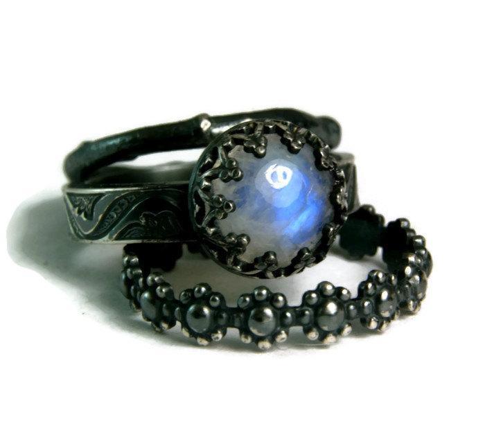 Mariage - Moonstone Bridal Set, Black Engagement Ring, Rustic Twig Ring, Oxidized Sterling Ring