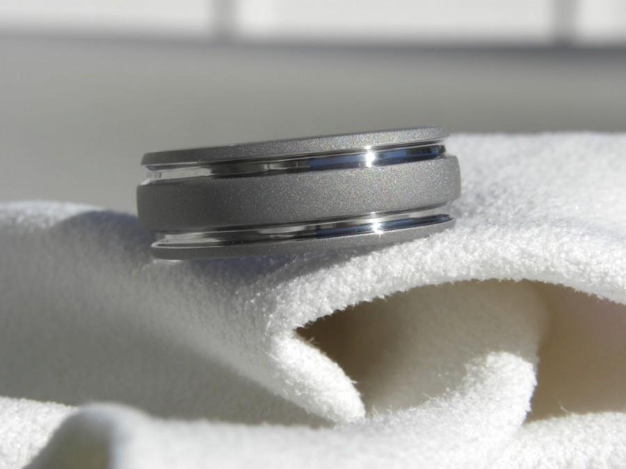 Wedding - Titanium Ring Sandblasted Gray Wedding Band AX32
