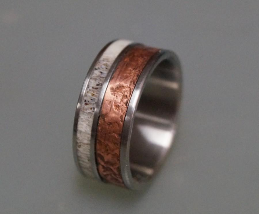 Patina copper wedding band for men titanium ring bone for Mens copper wedding rings