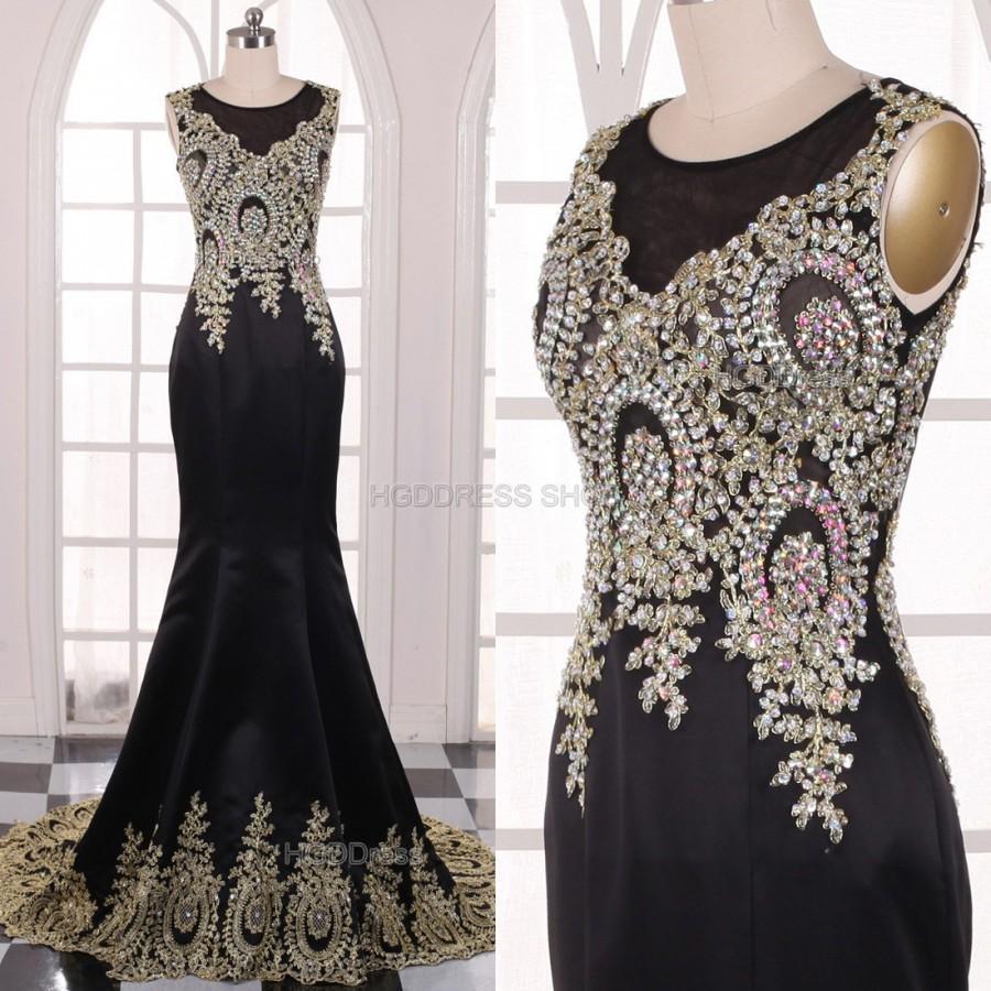 Mariage - Black Bridesmaid Dress Handmade beading/Crystal Rhinestone Satin Prom Dresses Long Prom Dress Party Dress Long Mermaid Formal Evening Dress