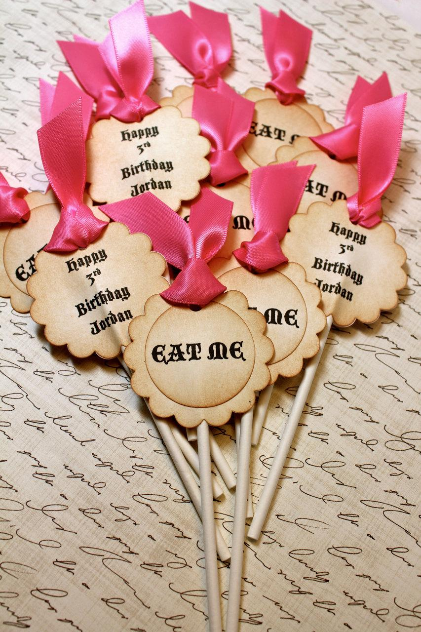 "Свадьба - Vintage Inspired ""Eat Me"" Cupcake Toppers - Set of 12 - You Choose Ribbon Color"