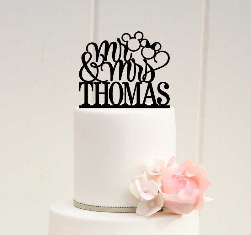 Mariage - Mickey Wedding Cake Topper - Wedding Cake Topper - Cake Topper with Last Name