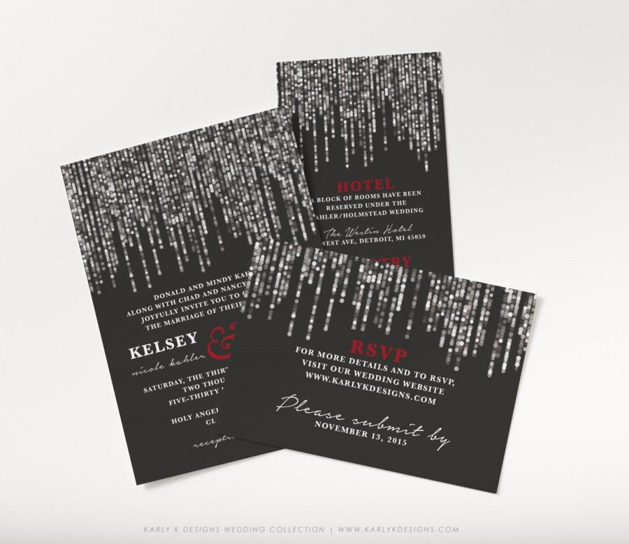 Printable Wedding Invitations Designs With Red And Silver: Printable Winter Wedding Invitation, Black, Red, And