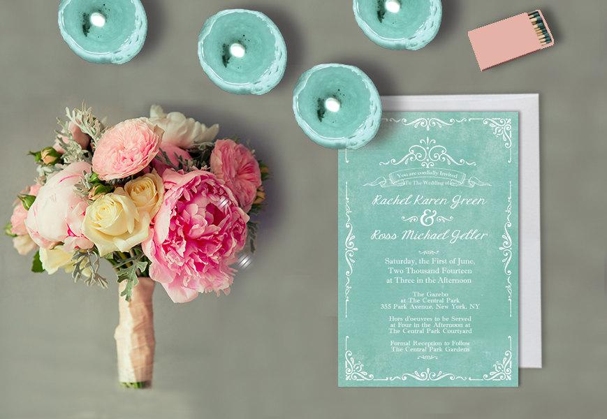 Mint Green Wedding Invitations For Shabby Chic Weddings / Vintage ...