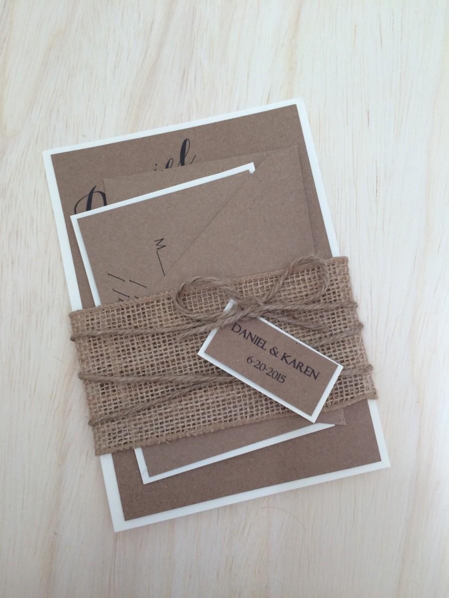Hochzeit - Rustic wedding invitation, burlap wedding invitation, kraft invitation, country wedding invitation