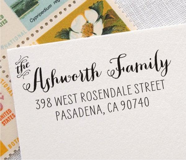 Wedding - Return Address Stamp - Personalized Address Stamp - Wood Rubber Stamp or Custom Self-Inking Return Address Stamp (004)