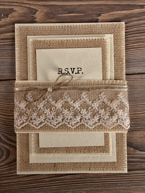 Hochzeit - Custom listing (100) Natural Burlap  Wedding Invitation, Country Style Wedding Invitations,  Rustic Wedding  Invitations