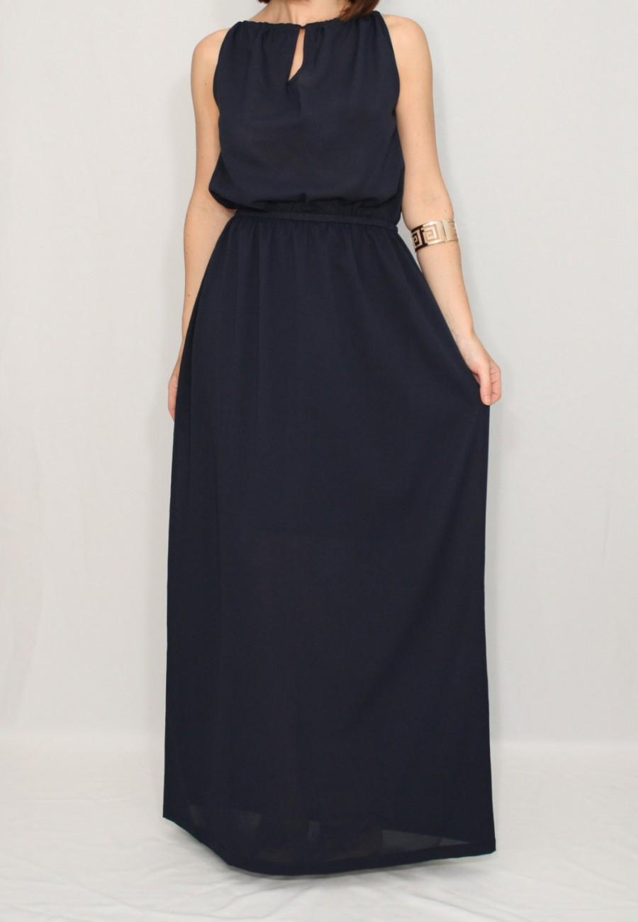 Navy bridesmaid dress chiffon dress long navy blue dress for Long navy dress for wedding