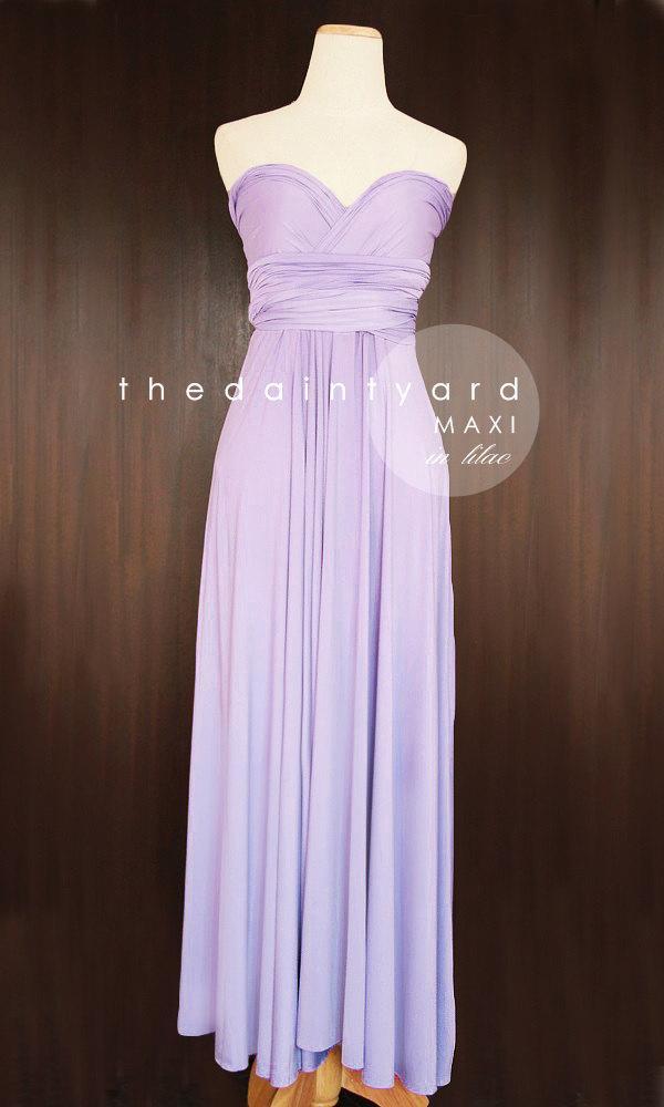 زفاف - MAXI Lilac Bridesmaid Dress Convertible Dress Infinity Dress Multiway Dress Wrap Dress Light Purple Pastel Wedding Dress Long Full Length