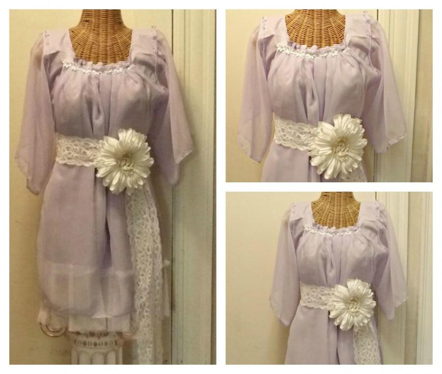 Wedding - Lavender Daisy Dress Size Medium Large Ready To Ship with Sash / Purple Boho Bridesmaid Short Womens