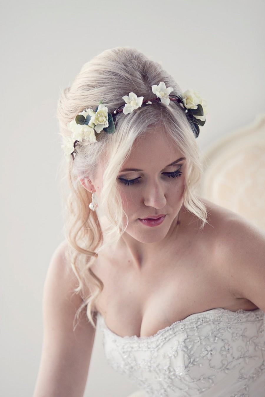 Flower Crown Floral Headband Bridal Crown Wedding Circlet Ivory