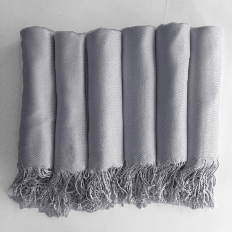 Свадьба - Pashmina shawl in Silver Grey - Bridesmaid Gift, Wedding Favor - Monogrammable