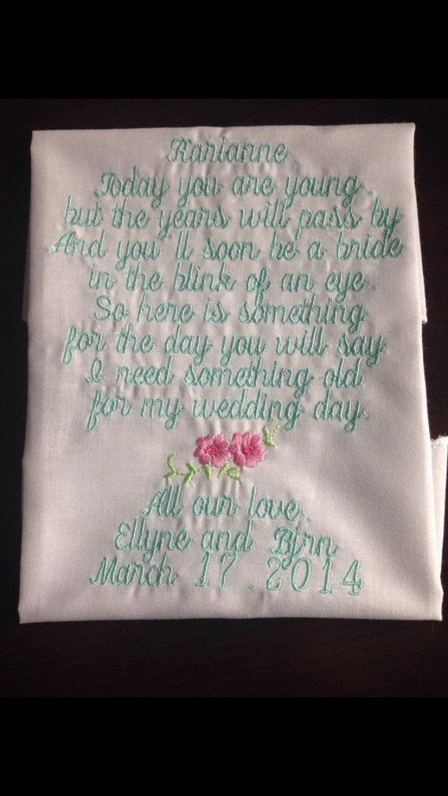 Mariage - flower girl hankie Embroidered Flower girl hankie Keepsake flower girl wedding hankie from bride to her adorable flower girl